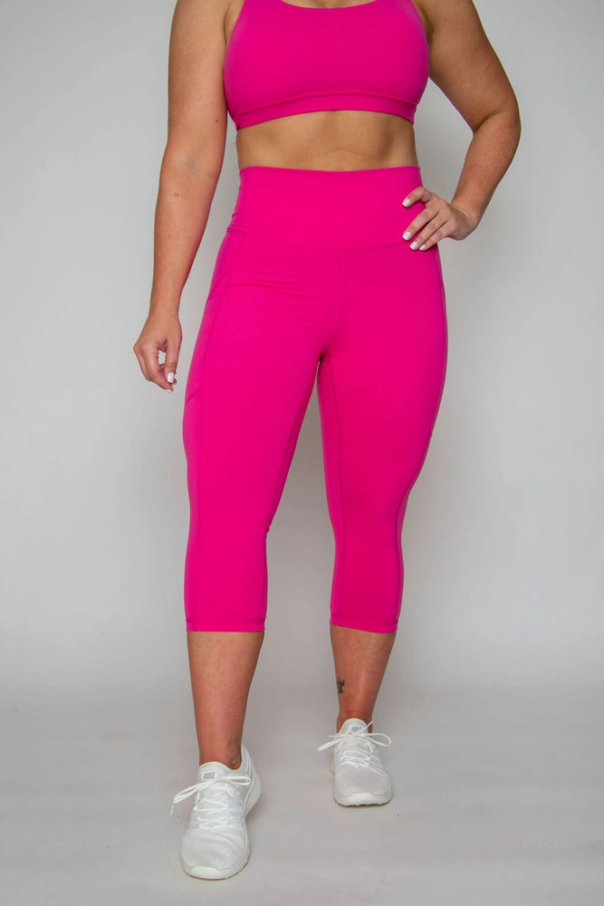 FINAL SALE NEW DESIGN Classic High-waist Capri with Pockets -- NEON PINK