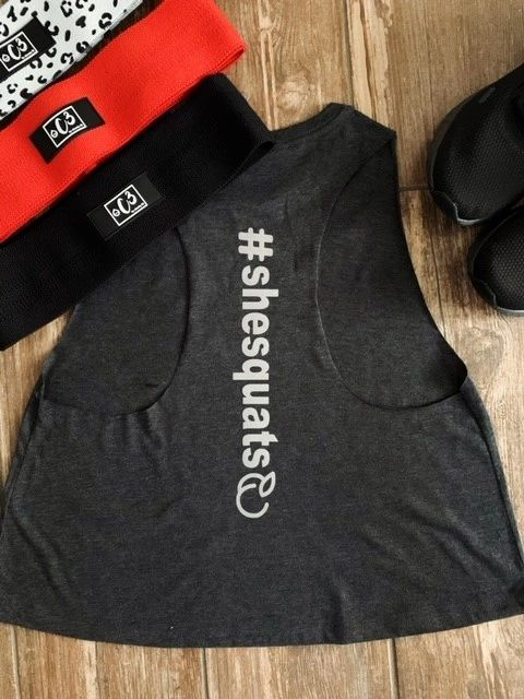 """#SHESQUATS"" Dark Grey Crop Tank"