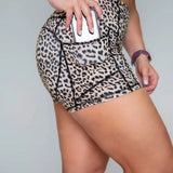"4"" Leopard High-wasit Short with Pockets"