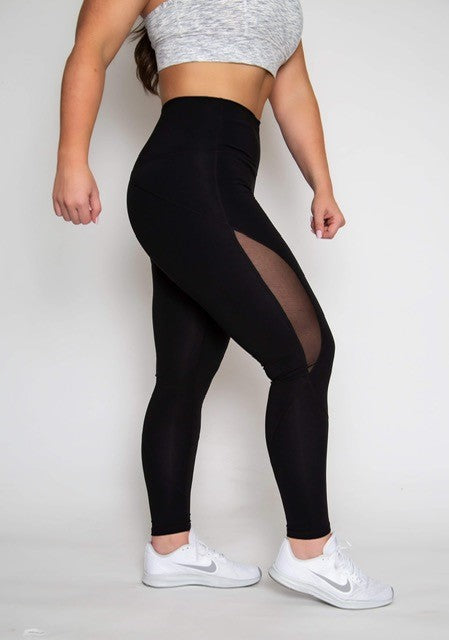 Mesh Cut Out High-waist Legging - Black