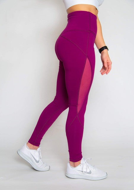 Mesh Cut Out High-waist Legging - Gorgeous Grape