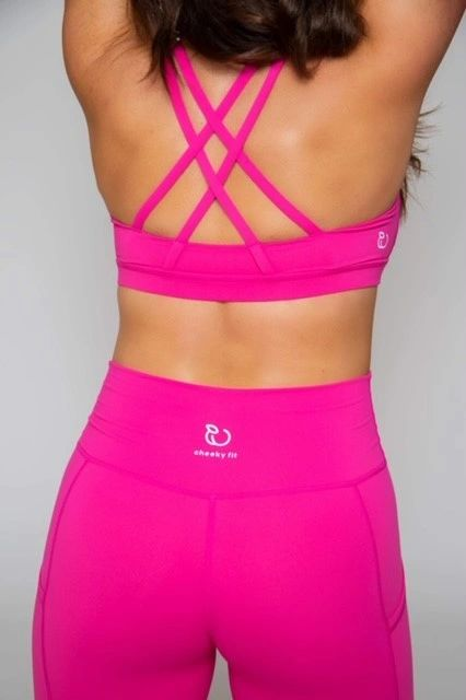 Criss Cross Sports Bra -- NEON PINK