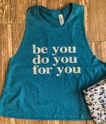 BE YOU Muscle Crop Tank - Dark Teal