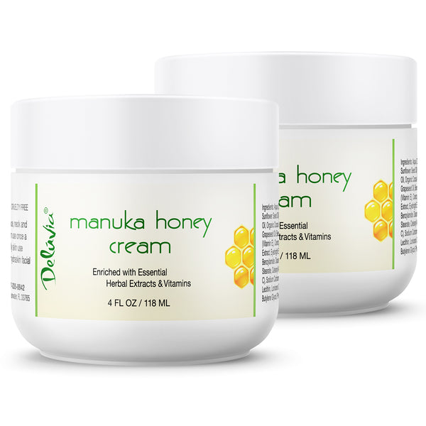 Manuka Honey Cream - 2 Pack (4oz each) - Deluvia