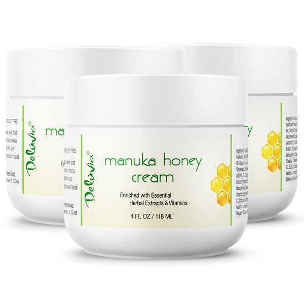 Manuka Honey Cream - 3 Pack (4oz each) - Deluvia