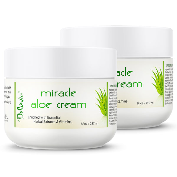 Delúvia Miracle Aloe Cream - 2 Pack (8oz each) - Deluvia