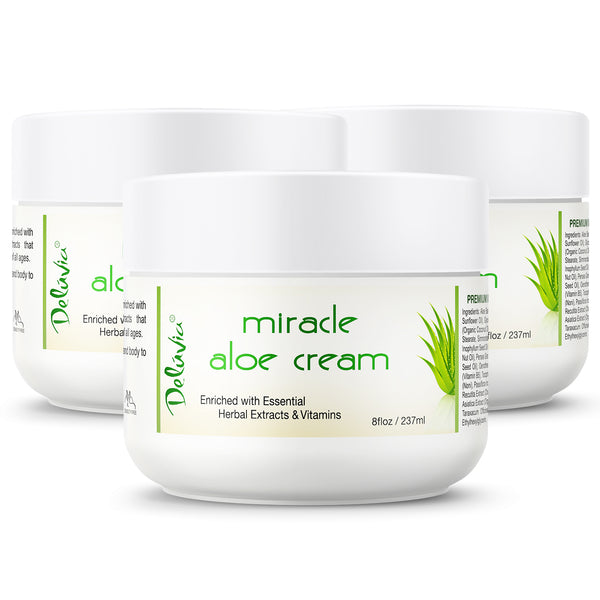 Delúvia Miracle Aloe Cream - 3 Pack (8oz each) - Deluvia