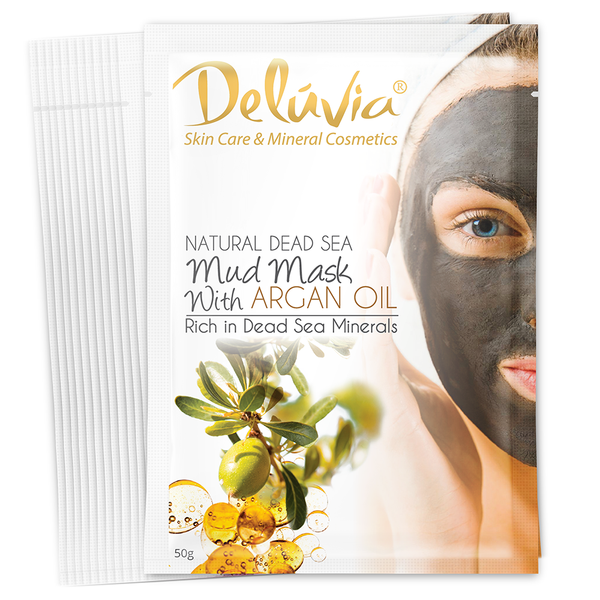 Mud Mask Sachet with Argan Oil – 12 Pk - Deluvia