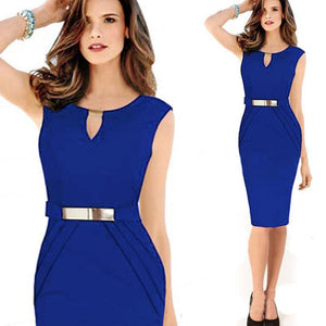 Office Work Bandage Dress With Belt Bodycon Tunic Office Woman Elegant