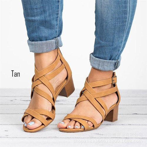 Summer Plus Size Sandals Open Toe Cover Heel Med Chunky Block Heels Pumps Leather Cross Belted Women Shoes Sandals