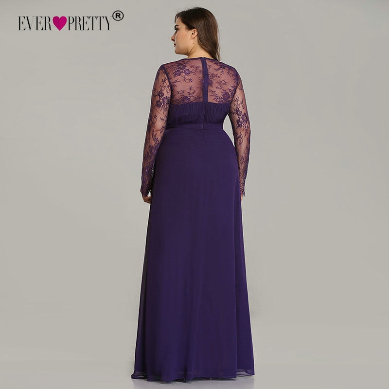 6a5152d2a4d5 ... Elegant Plus Size Prom Dresses Purple Long Sleeve Lace A-line Chiffon  Long Party Gowns ...