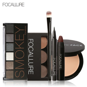 FOCALLURE 6Pcs Pro Face Makeup Set Eyebrow Powder Palette Eyeliner Eyeshadow Palette Sexy Matte Lip Sticker with 1Pcs Brush - The Perfect Match