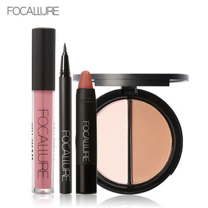 FOCALLURE Black Eyeliner Pencil Matte Lip Gloss Face Bronzer Highlighter Palette New 4Pcs Easy Lip Makeup Sexy Matte Lip Sticker - The Perfect Match