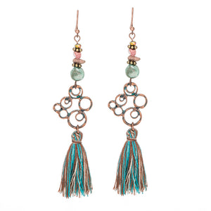 Fashion Boho Long tassel earrings Antique Vintage Ethnic Bohemian Green fringed earring for women Stones Geometric jewelry 2018 - The Perfect Match