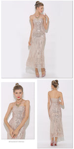 Strapless Maxi Dress Rose Gold Mermaid Sequin Dress Metallic - The Perfect Match