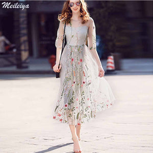 Gorgeous Half Sleeves Sheer Mesh flower grass Embroidery Boho Bohemian Long Dress Brand Style Evening Party Dresses Vestidos - The Perfect Match