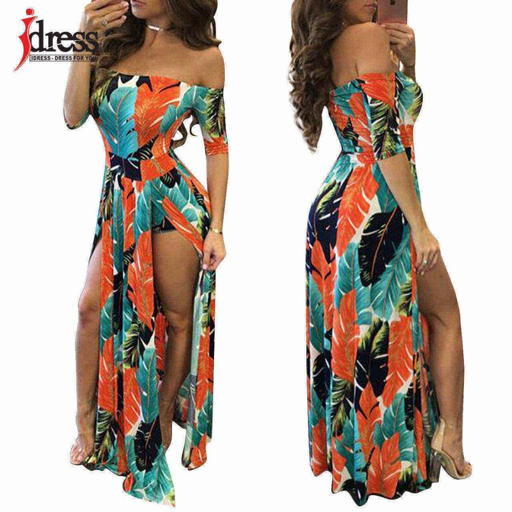0ffccdeb0a ... Hot Off the Shoulder Dress Women Sexy Romper Short Trousers Bodycon  Playsuit Print Spilt Maxi Long ...