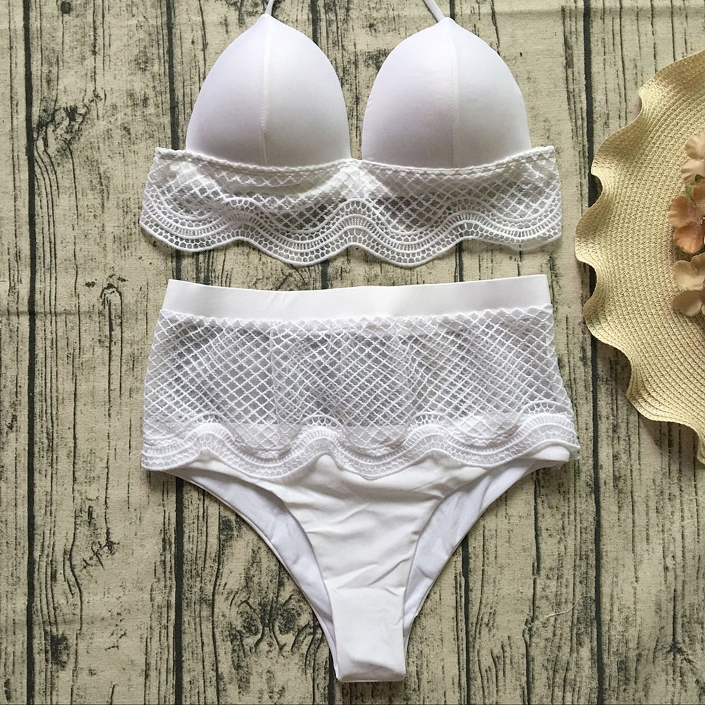 b3b6242d66 ... Lace Up White Bikini Set Sexy Mesh Swimsuit High Waist Swimwear Women Bandeau  Bikini Push Up ...