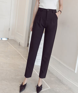 MISSFEBPLUM Korean Style Fashion Spring and Summer Trousers Womens Solid Color Casual High Waist Harem Pants Female OL Work Pant - The Perfect Match