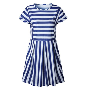 Missufe Striped O Neck Summer Dress Mini Casual Short Sleeve T-shirt Female Clothing 2018 Streetwear Slim Beach Dress For Women - The Perfect Match