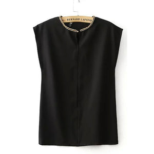 Office Lady Chiffon Blouse Short Sleeve Black White - The Perfect Match