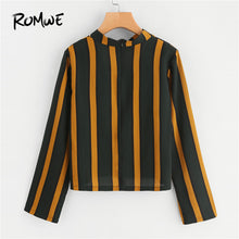 Cut Out Zipper Striped V Neck Womens Tops and Blouses Fall Fashion Women Clothing Long Sleeve Elegant Sexy Blouse