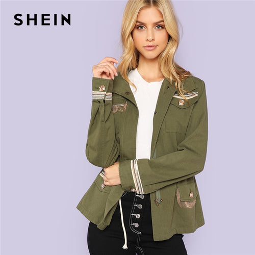 SHEIN Army Green Preppy Highstreet Fringe Detail Pocket Button Trim Jacket 2018 Autumn Fashion Campus Women Coat And Outerwear