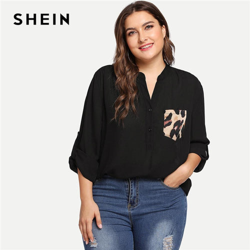 Black Leopard Print Pocket Patched Roll Tab Sleeve V Neck Office Lady Plus Size Blouses Women Casual Half Placket Shirts