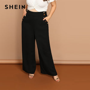 dc9c8f2a38 Black Plus Button Detail Slant Pocket Palazzo Plain Wide Leg Pants Women  Office Lady Fashion Solid
