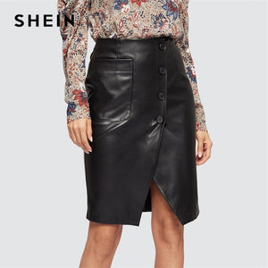Black Slit Button Up PU Sheath Asymmetrical Plain Long Skirt Casual  High Waist Women Skirts Summer Slim Skirt