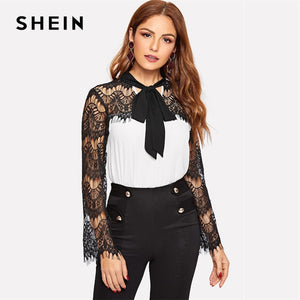 Black and White Tie Neck Eyelash Lace Panel Two Tone Elegant  Contrast Lace Top Blouse Spring Women Tops And Blouses