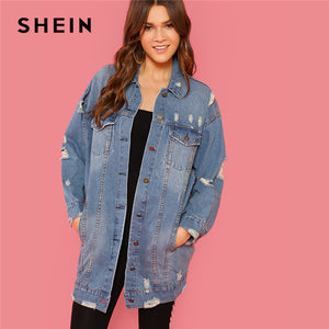 SHEIN Blue Rock Highstreet Patched Buttoned Ripped Denim Long Minimalist Solid Jacket 2018 Autumn Casual Women Coat Outerwear