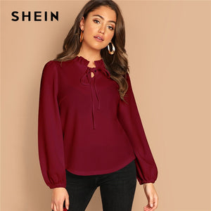 Burgundy Frilled Neck Knot Solid Casual Top Women Spring Plain Womens Tops and Blouses Long Sleeve Workwear Blouse
