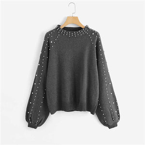 bb5b75f6540e SHEIN Grey Pearl Beading Lantern Sleeve Plus Size Womens Acrylic Sweater  And Pullover 2018 Autumn Winter