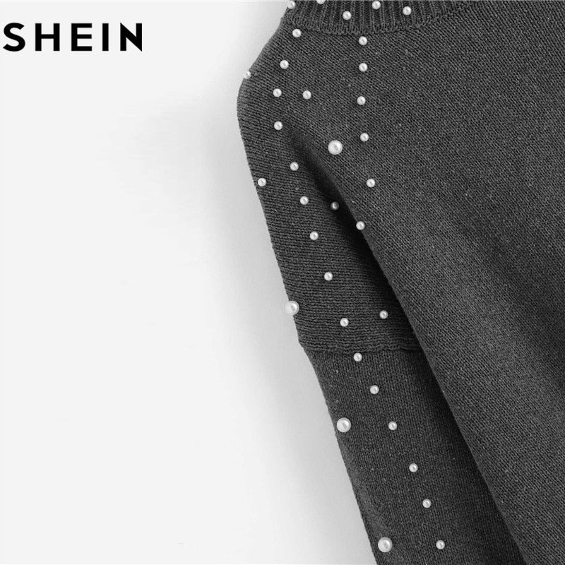 fe5f670f4e SHEIN Grey Pearl Beading Lantern Sleeve Plus Size Womens Acrylic Sweater  And Pullover 2018 Autumn Winter ...