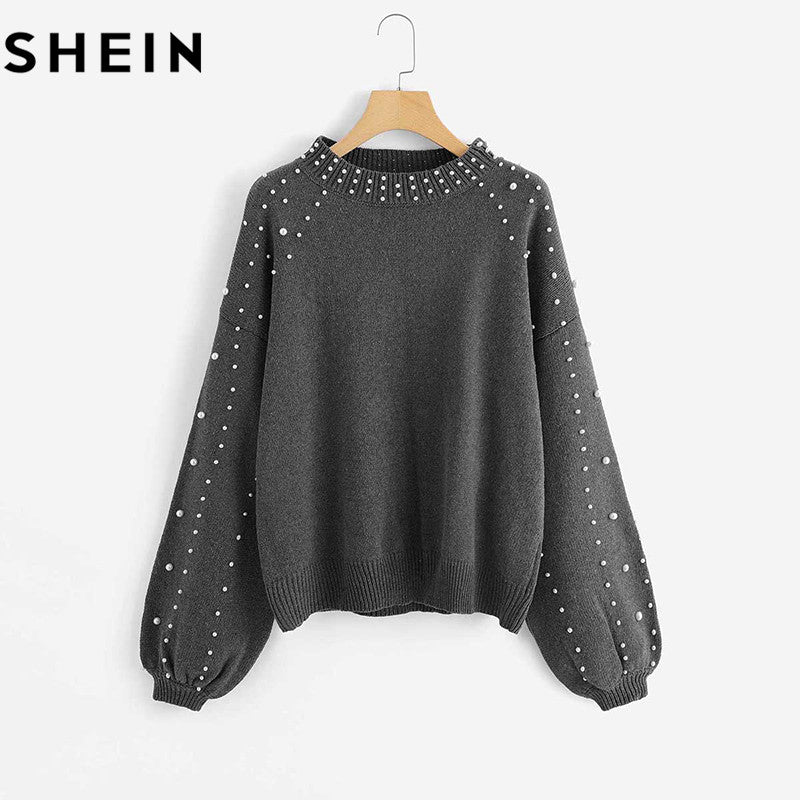 ... SHEIN Grey Pearl Beading Lantern Sleeve Plus Size Womens Acrylic  Sweater And Pullover 2018 Autumn Winter ... d886a3b0db
