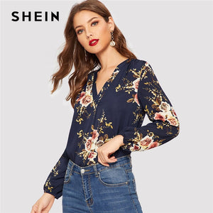 Navy Office Lady Elegant Floral Print V Neck Bishop Sleeve Pullovers Blouse Spring Workwear Women Tops And Blouses