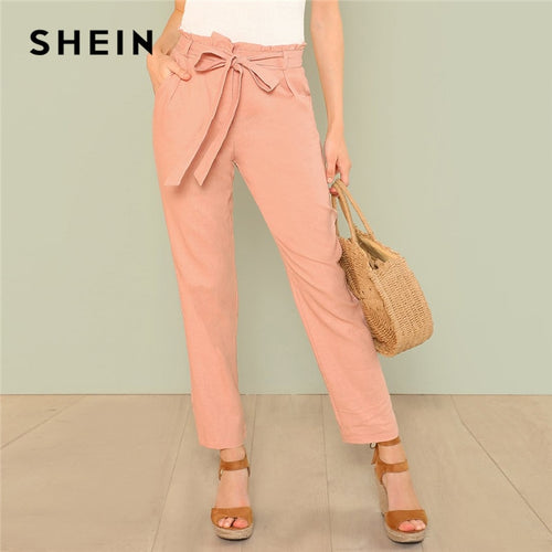 SHEIN Pink Self Belted Pocket Side Frill Pants Casual Cotton High Waist Trousers Women Plain Minimalist Autumn Trousers