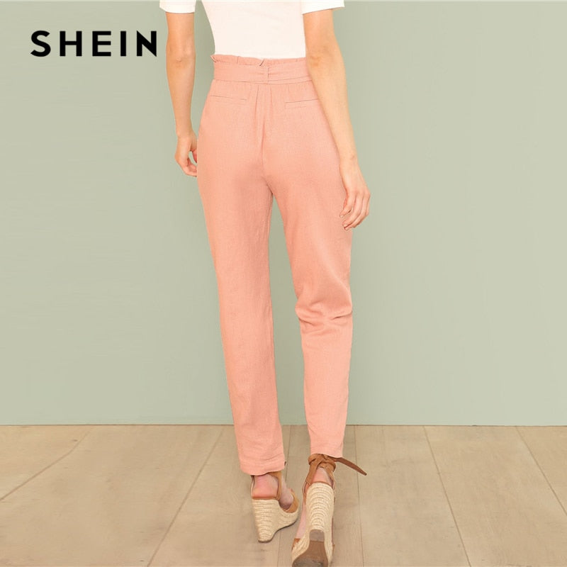 98931a829c SHEIN Pink Self Belted Pocket Side Frill Pants Casual Cotton High Waist  Trousers Women Plain Minimalist ...