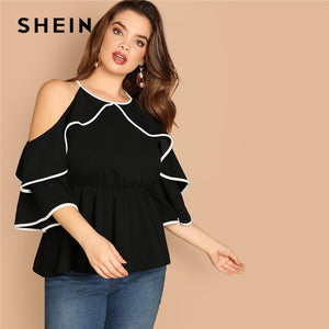 Plus Size Sexy Cold Shoulder Butterfly Sleeve Women Black Ruffle Blouse Casual Spring Three Quarter Sleeve Top Blouse
