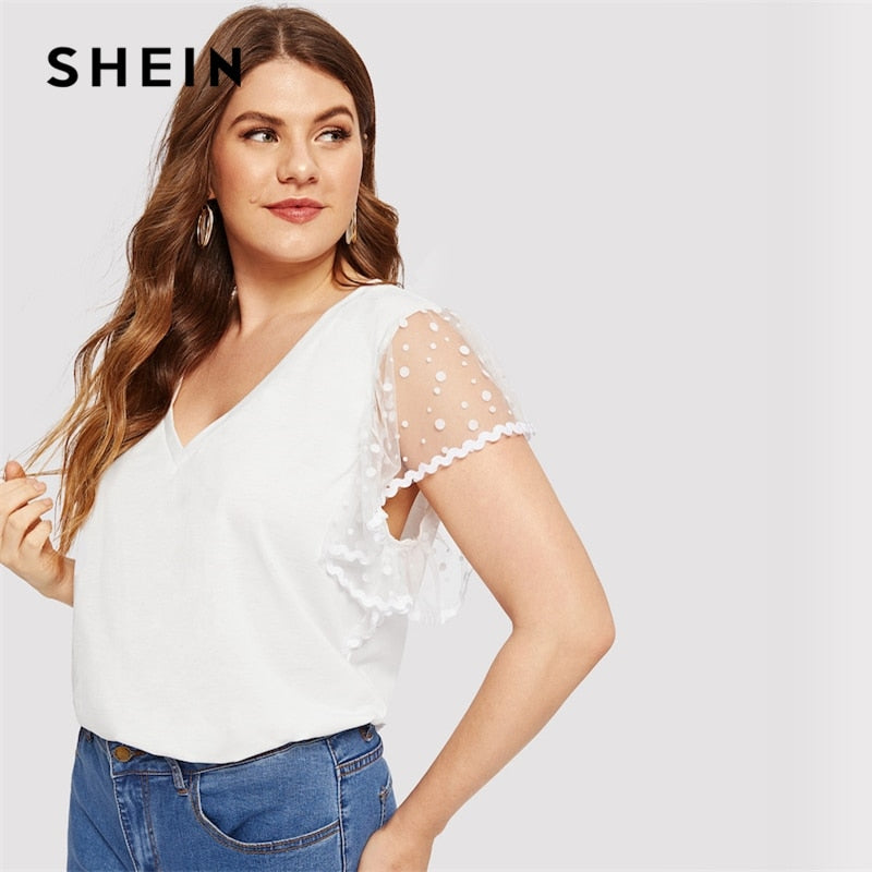 118059b858b Plus Size White Contrast Mesh Solid Dot Sheer Butterfly Sleeve Top Tees  Summer Women Short Sleeve .