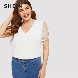 Plus Size White Contrast Mesh Solid Dot Sheer Butterfly Sleeve Top Tees Summer Women  Short Sleeve Casual T Shirts