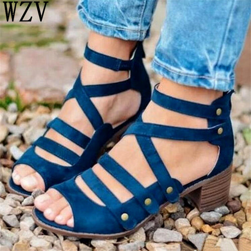 Women Fashion Hollow Out Peep Toe chunky heels rivet Sandals High Heeled Shoes zapatos mujer tacon chaussures femme H02