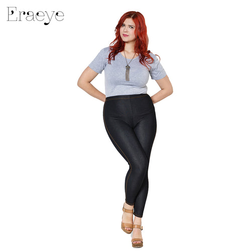 Lady faux jeans Ninth Pants Large Size 5xl High Elastic Skinny Thin Black Blue Denim Leggings - The Perfect Match