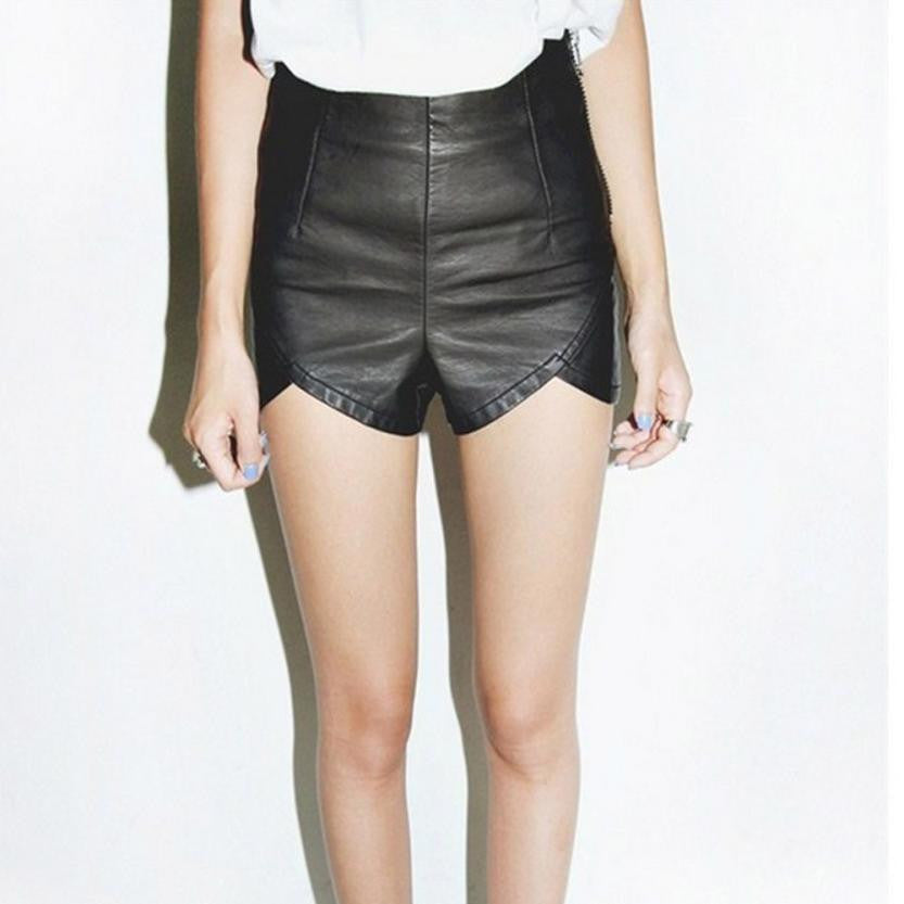 European style Women Slender Imitation Leather  Shorts - The Perfect Match