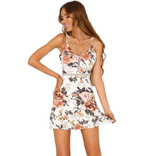 Floral Print Dress Sexy Cross Spaghetti Strap Women's Mini Dress White Black - The Perfect Match