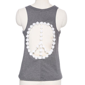 Lace Backless Peace Tank Tops - The Perfect Match