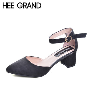 Elegant Pumps Shoes Flock Pointed Toe High Heels Buckle Strap Shoes - The Perfect Match