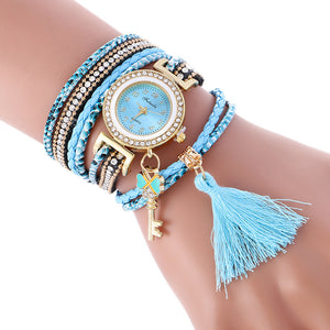 Fashion Wrap Around Weave Leather Bracelet Wrist Watch - The Perfect Match