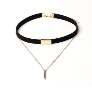 Black Velvet Choker Necklace Gold Chain Bar - The Perfect Match